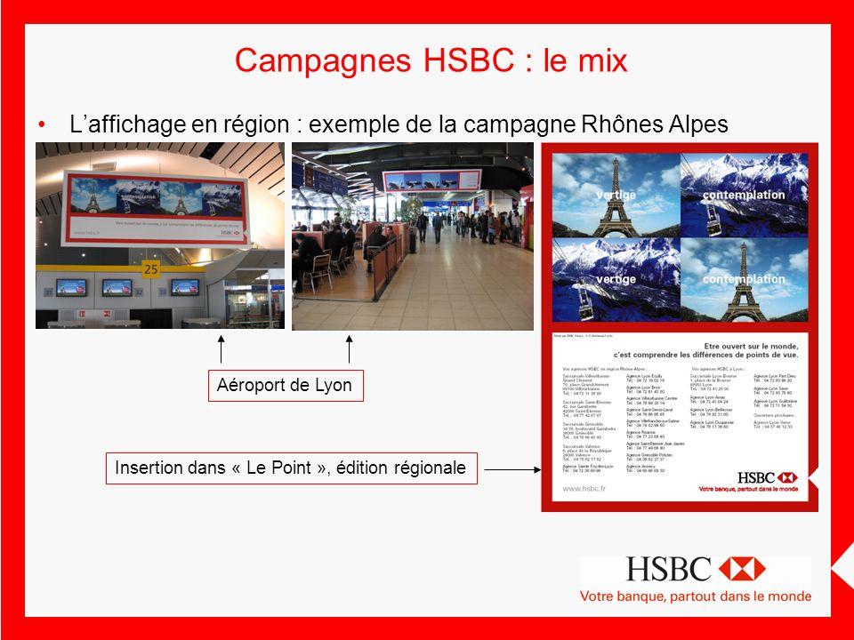 Campagnes HSBC : le mix L'affichage en région : exemple de la campagne Rhônes Alpes. Aéroport de Lyon.