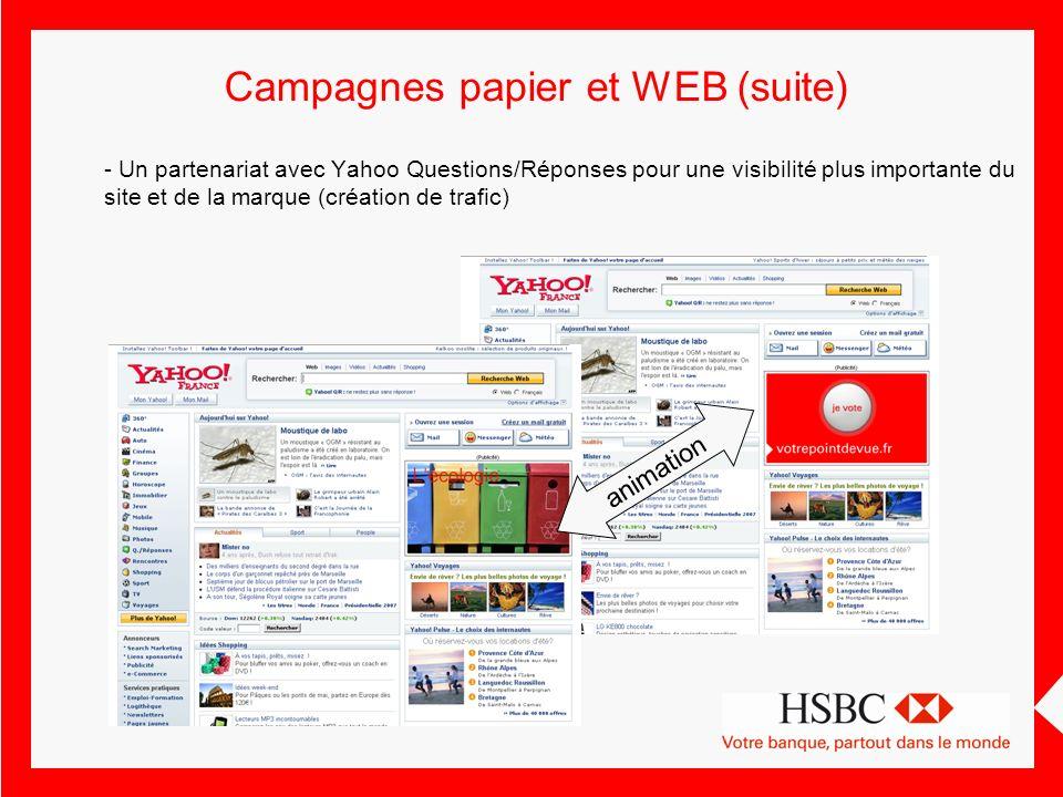 Campagnes papier et WEB (suite)