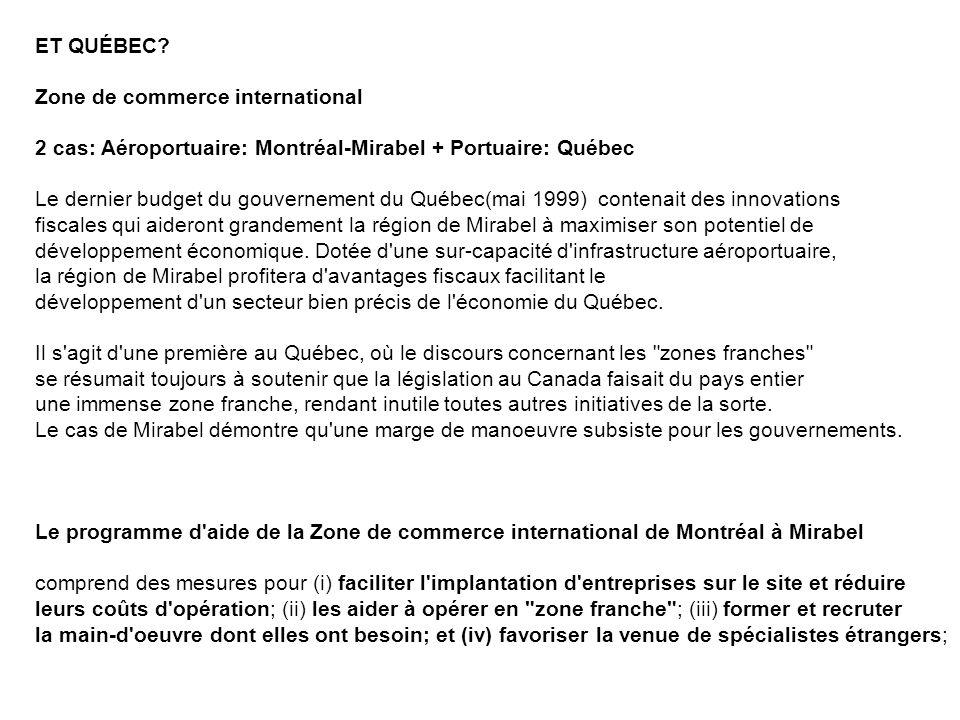 ET QUÉBEC Zone de commerce international. 2 cas: Aéroportuaire: Montréal-Mirabel + Portuaire: Québec.