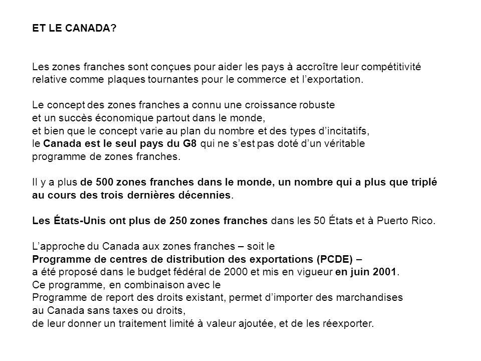 ET LE CANADA Les zones franches sont conçues pour aider les pays à accroître leur compétitivité.