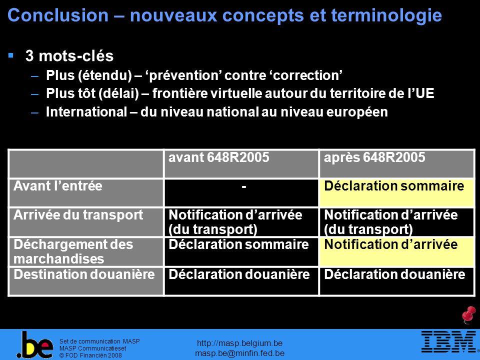 Conclusion – nouveaux concepts et terminologie