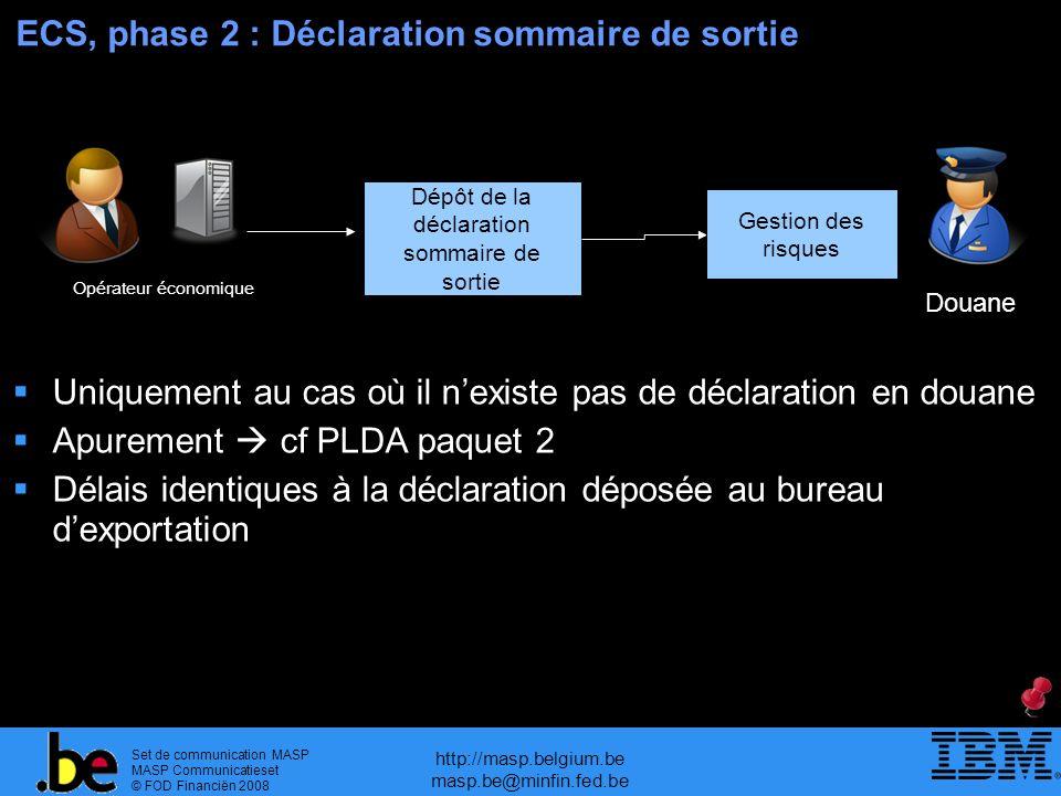 ECS, phase 2 : Déclaration sommaire de sortie