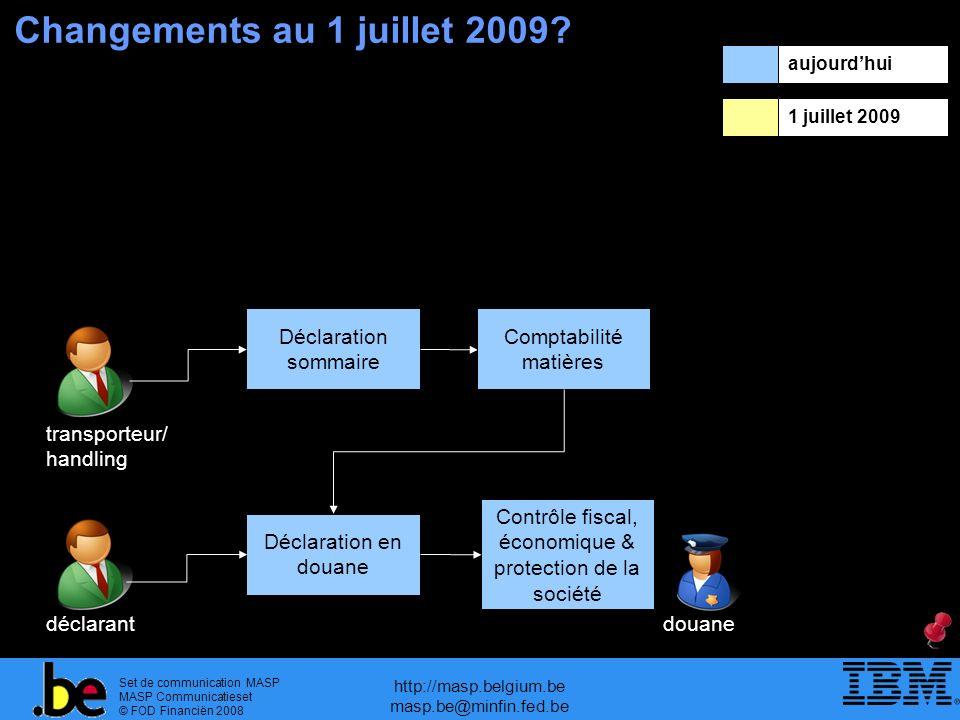 Changements au 1 juillet 2009