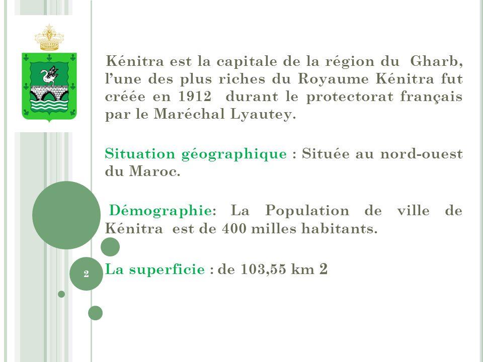 Kénitra est la capitale de la région du Gharb, l'une des plus riches du Royaume Kénitra fut créée en 1912 durant le protectorat français par le Maréchal Lyautey.