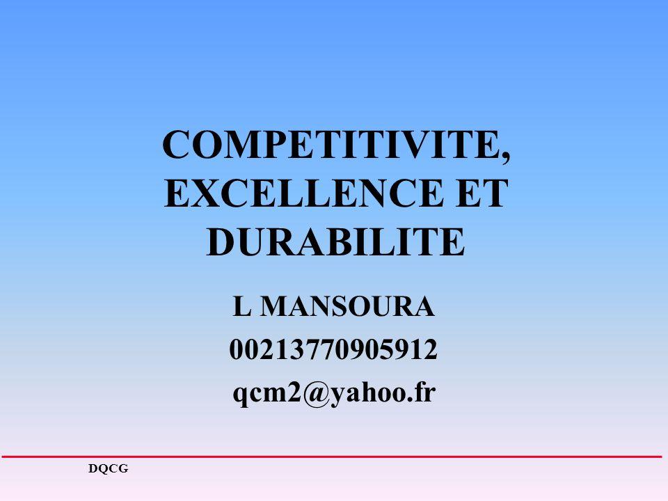 COMPETITIVITE, EXCELLENCE ET DURABILITE