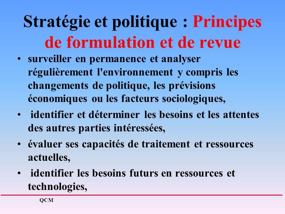 Stratégie et politique : Principes de formulation et de revue