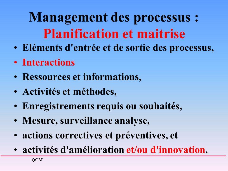 Management des processus : Planification et maitrise