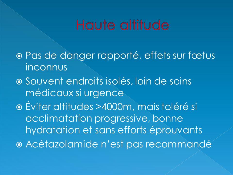 Haute altitude Pas de danger rapporté, effets sur fœtus inconnus