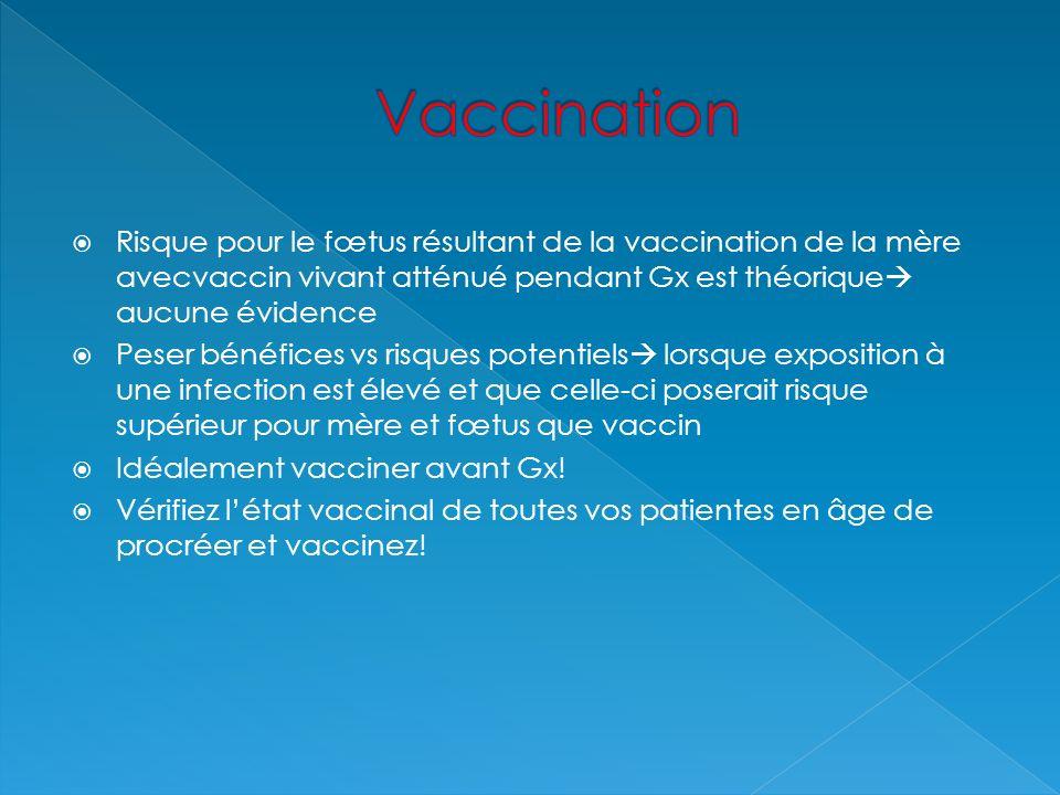 Vaccination Risque pour le fœtus résultant de la vaccination de la mère avecvaccin vivant atténué pendant Gx est théorique aucune évidence.