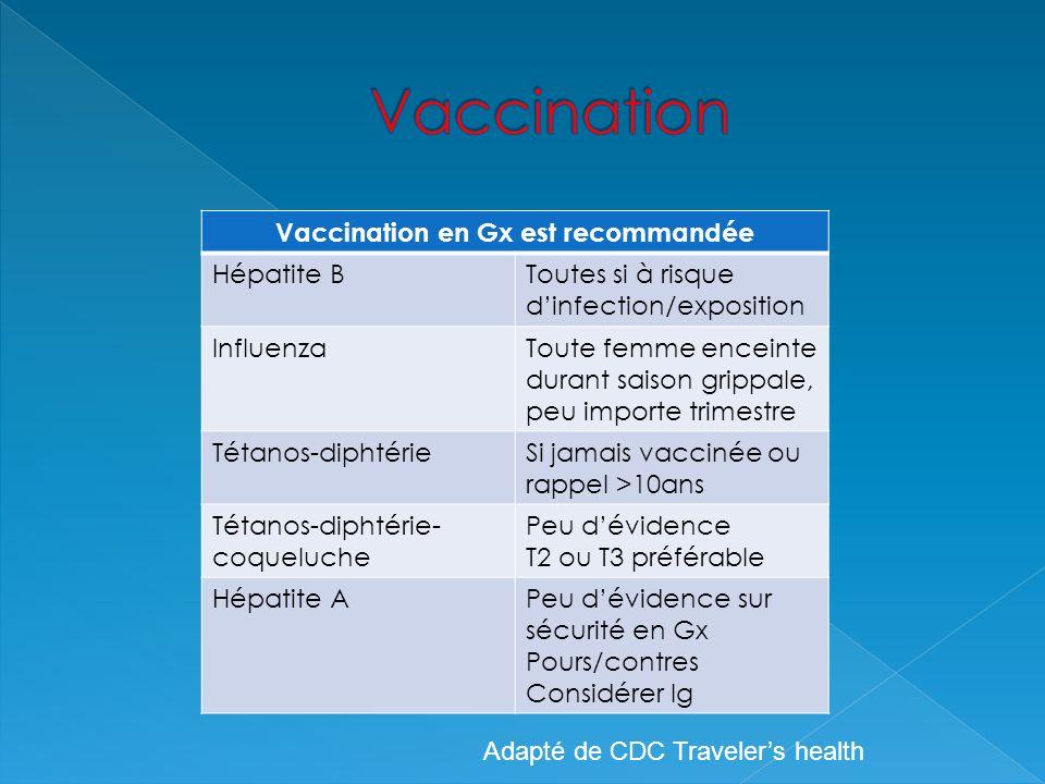 Vaccination en Gx est recommandée