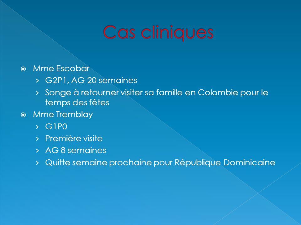 Cas cliniques Mme Escobar G2P1, AG 20 semaines