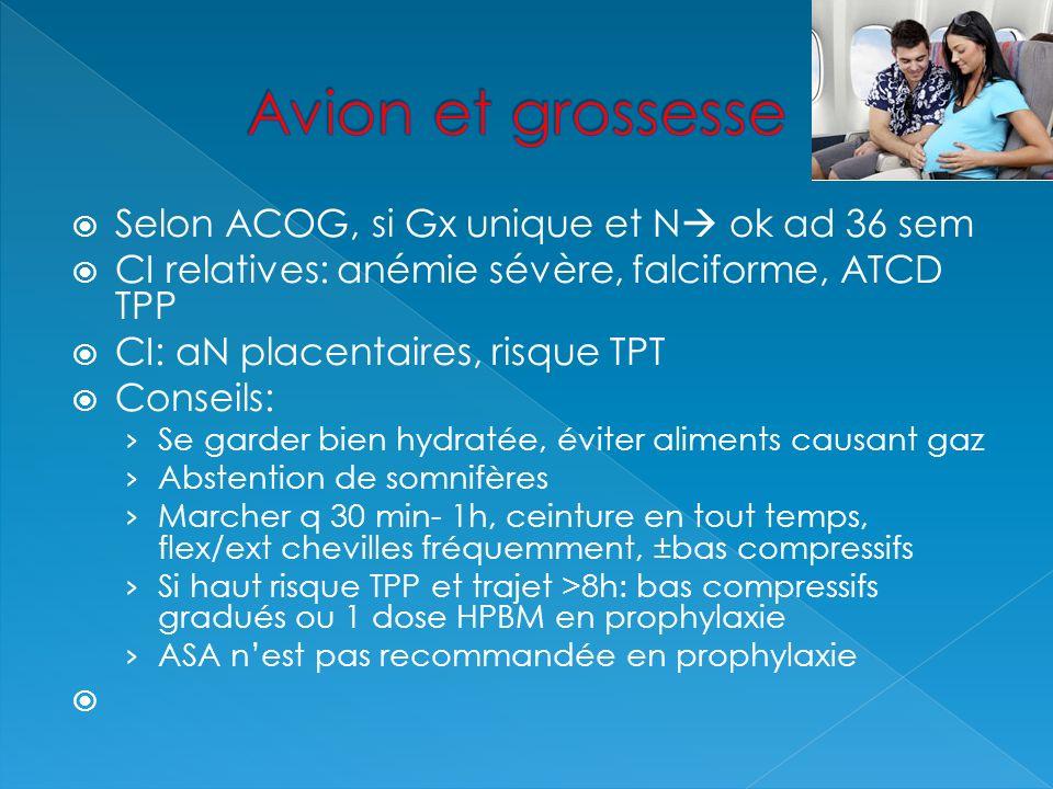 Avion et grossesse Selon ACOG, si Gx unique et N ok ad 36 sem