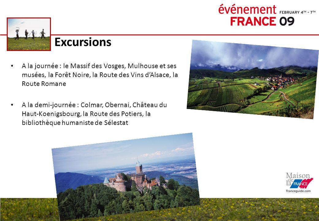 ExcursionsA la journée : le Massif des Vosges, Mulhouse et ses musées, la Forêt Noire, la Route des Vins d'Alsace, la Route Romane.