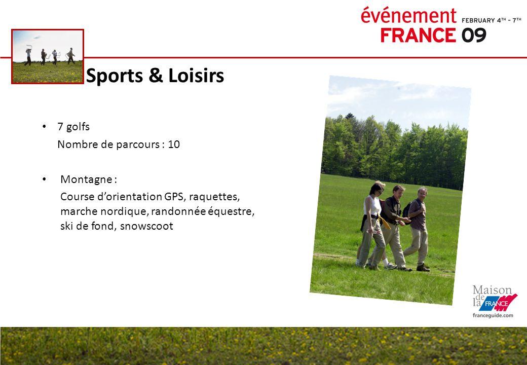 Sports & Loisirs 7 golfs Nombre de parcours : 10 Montagne :