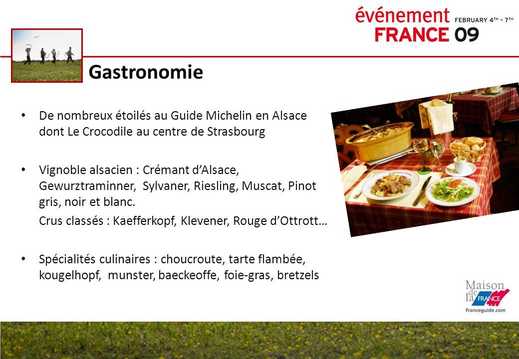 GastronomieDe nombreux étoilés au Guide Michelin en Alsace dont Le Crocodile au centre de Strasbourg.