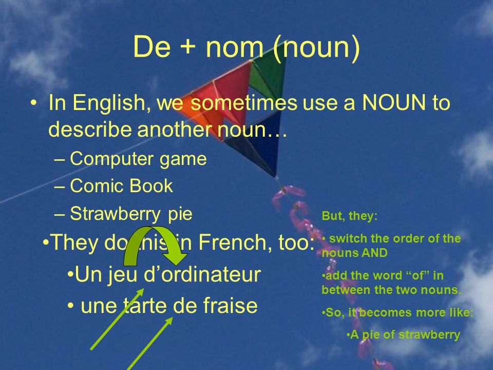 De + nom (noun) In English, we sometimes use a NOUN to describe another noun… Computer game. Comic Book.