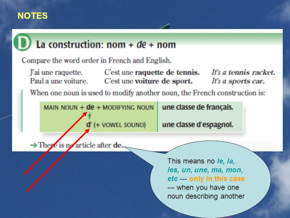 NOTES This means no le, la, les, un, une, ma, mon, etc --- only in this case --- when you have one noun describing another.