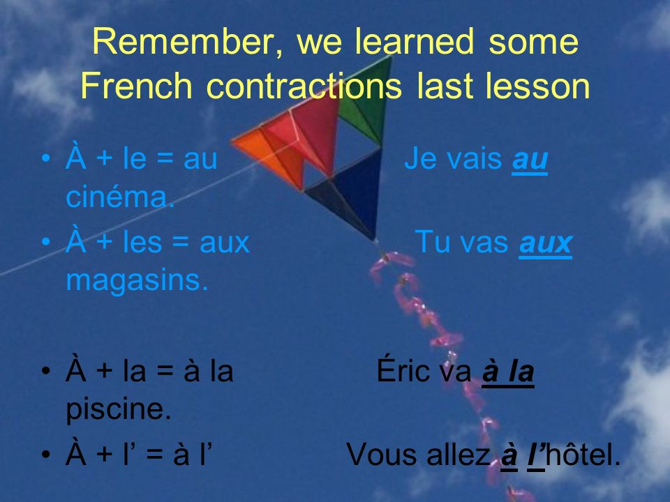 Remember, we learned some French contractions last lesson