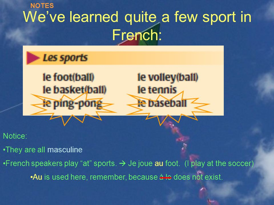 We've learned quite a few sport in French: