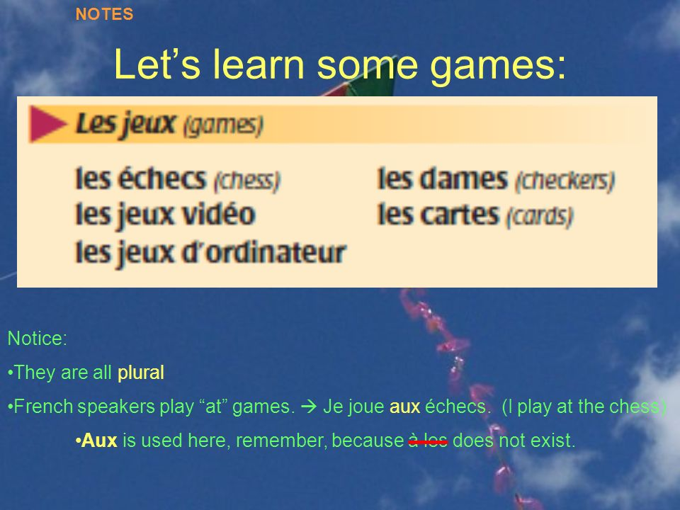 Let's learn some games: