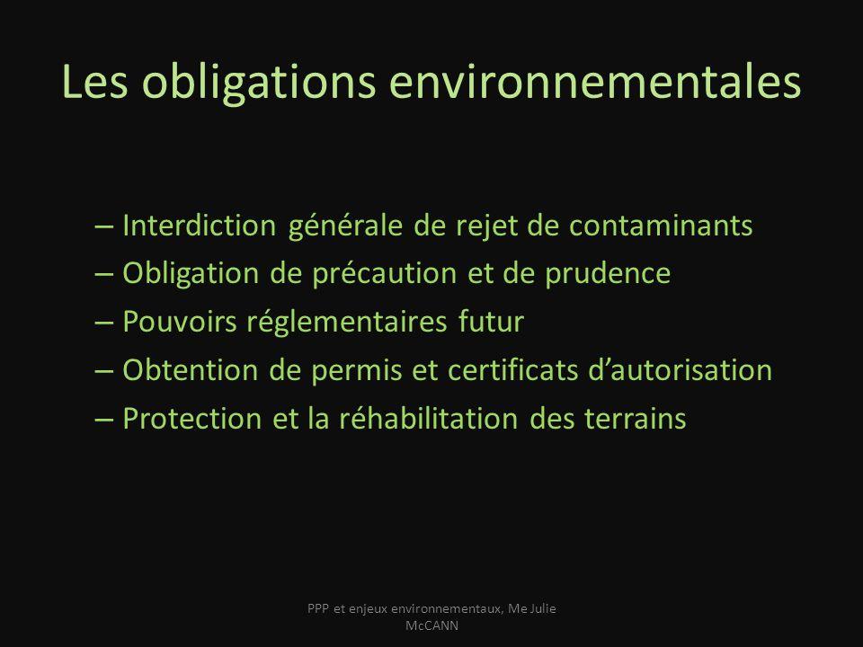 Les obligations environnementales