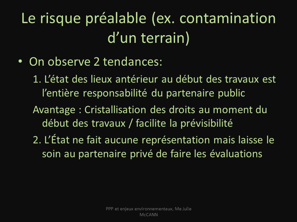 Le risque préalable (ex. contamination d'un terrain)