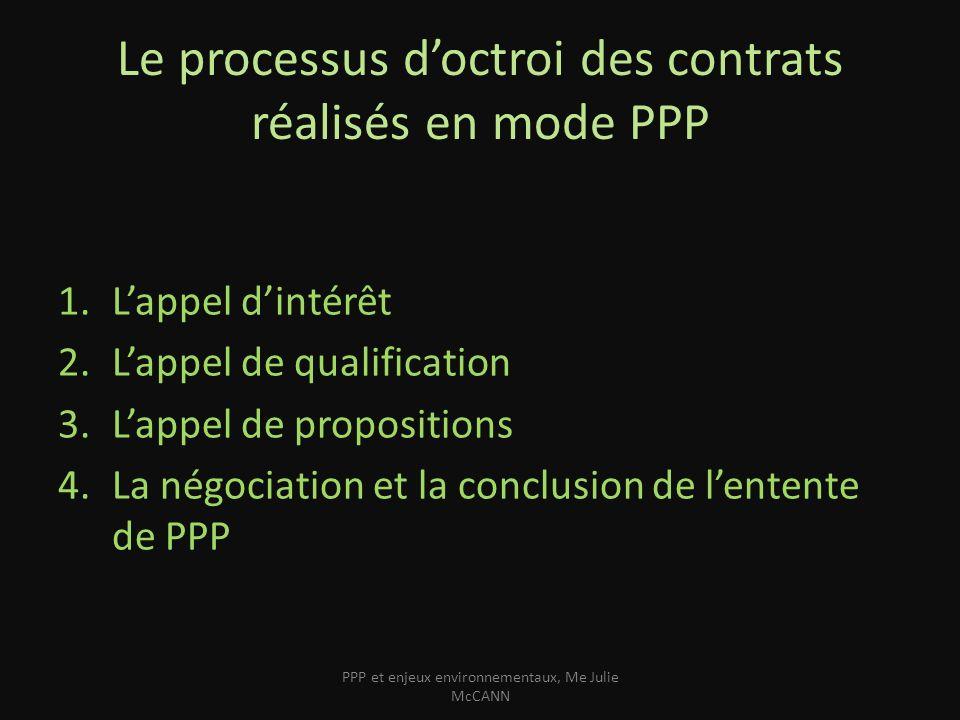 Le processus d'octroi des contrats réalisés en mode PPP