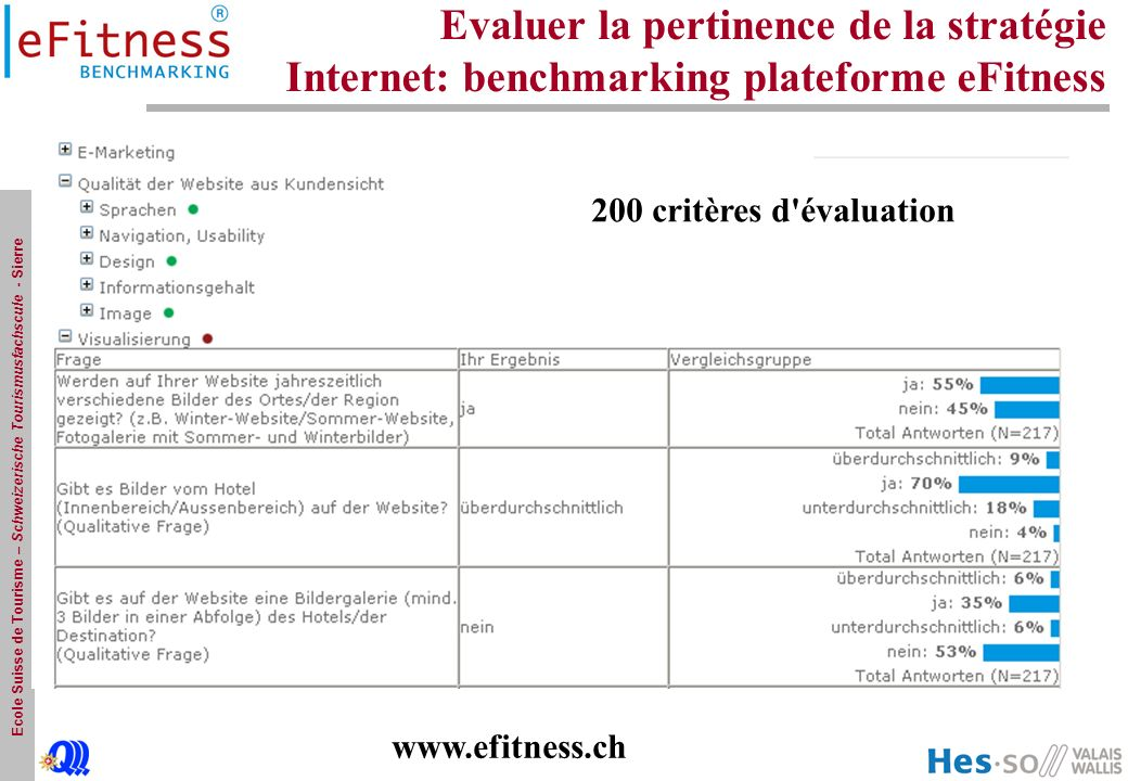 Evaluer la pertinence de la stratégie Internet: benchmarking plateforme eFitness