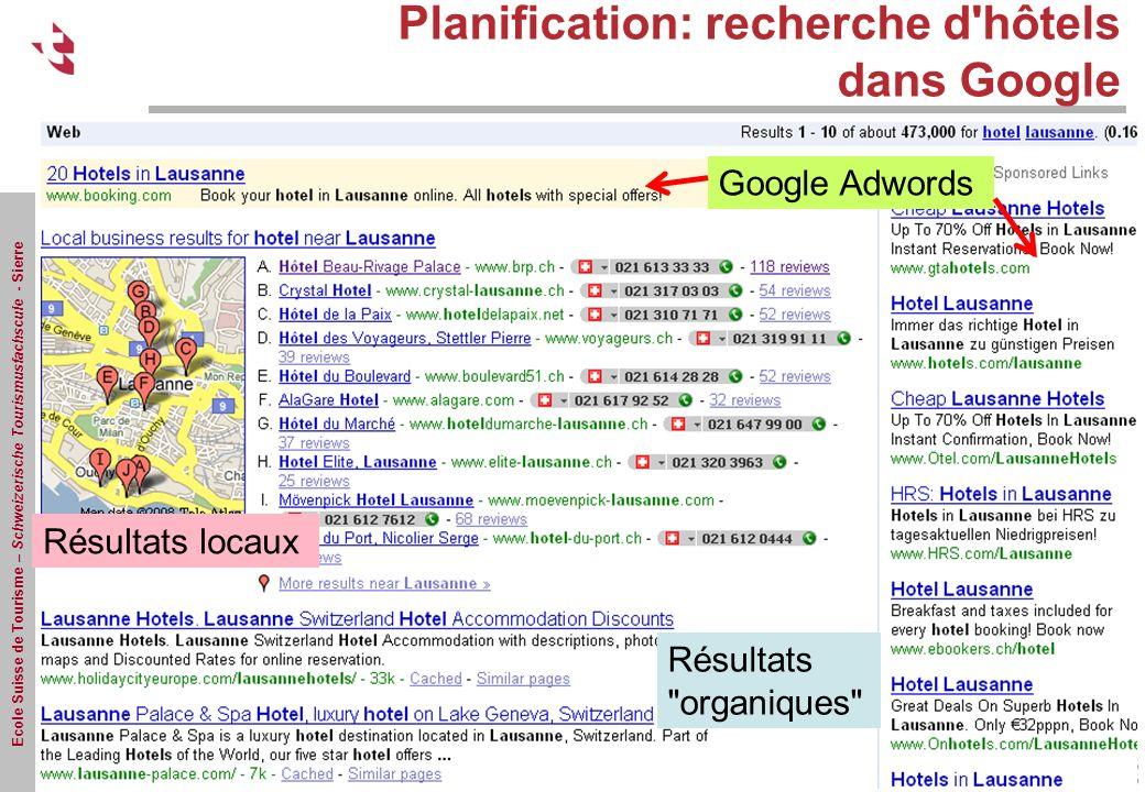 Planification: recherche d hôtels dans Google