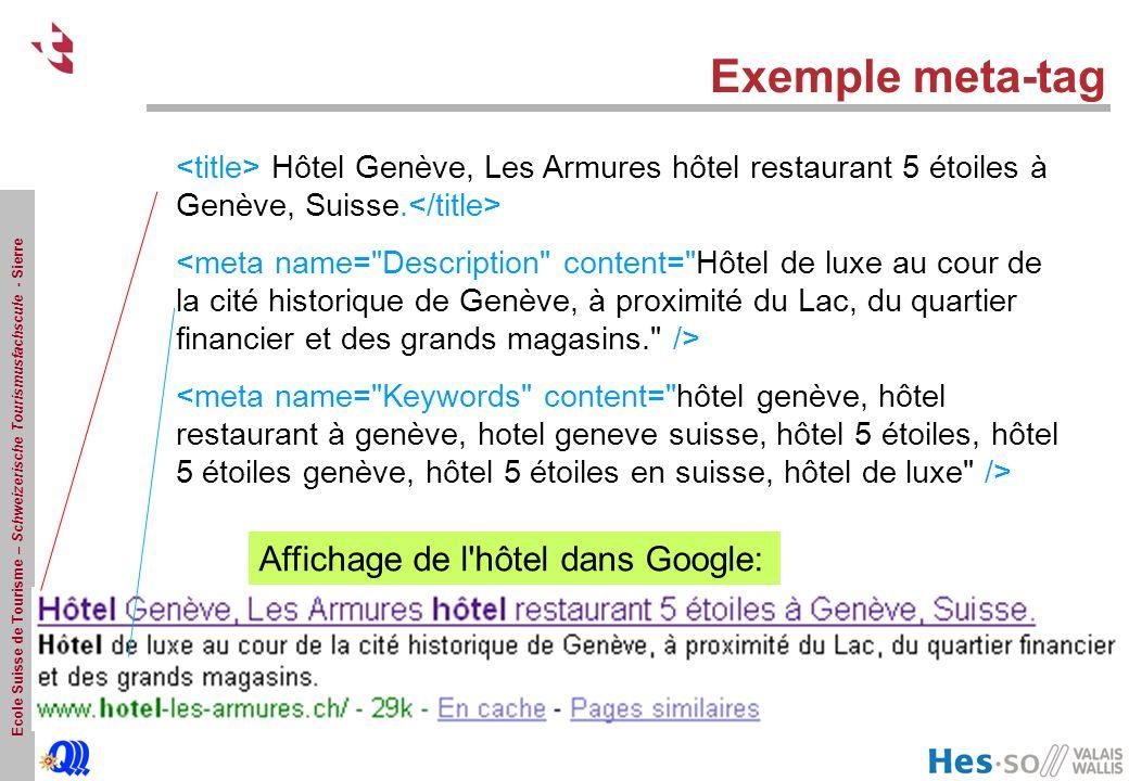 Exemple meta-tag Affichage de l hôtel dans Google: