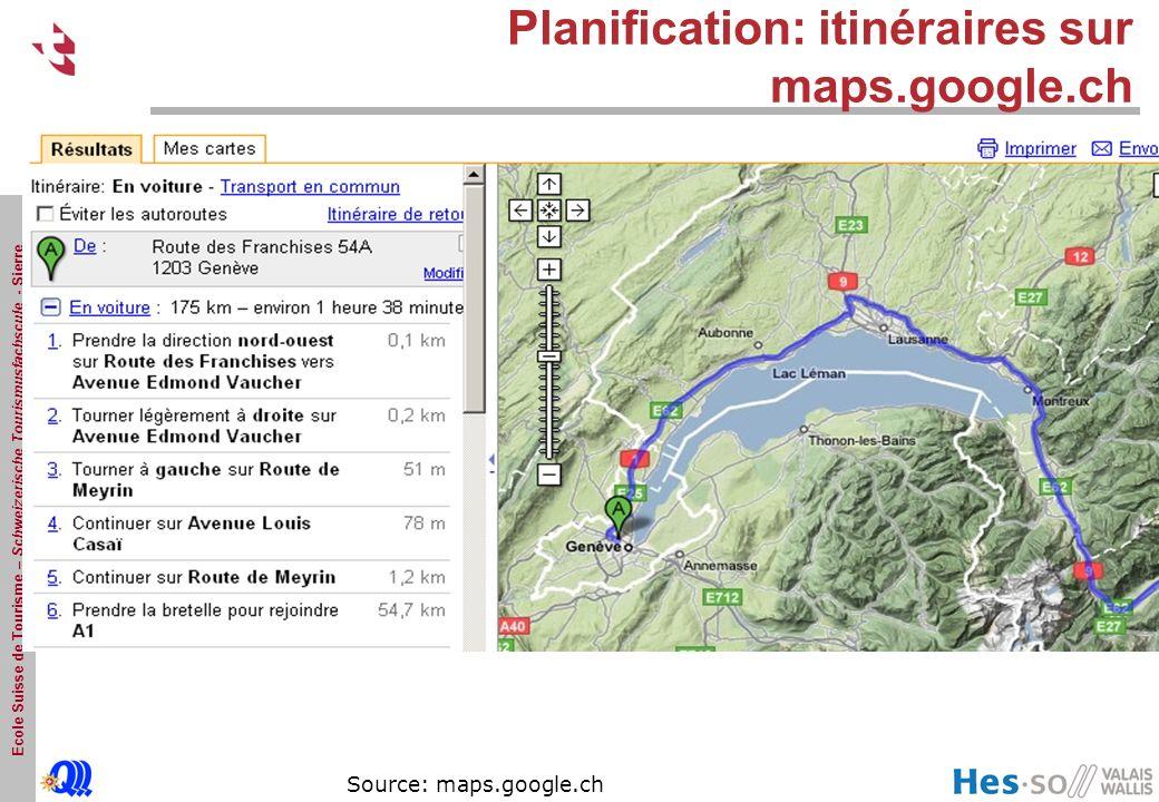 Planification: itinéraires sur maps.google.ch