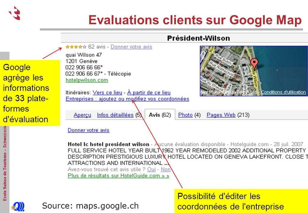 Evaluations clients sur Google Map