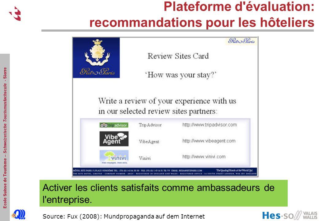 Plateforme d évaluation: recommandations pour les hôteliers