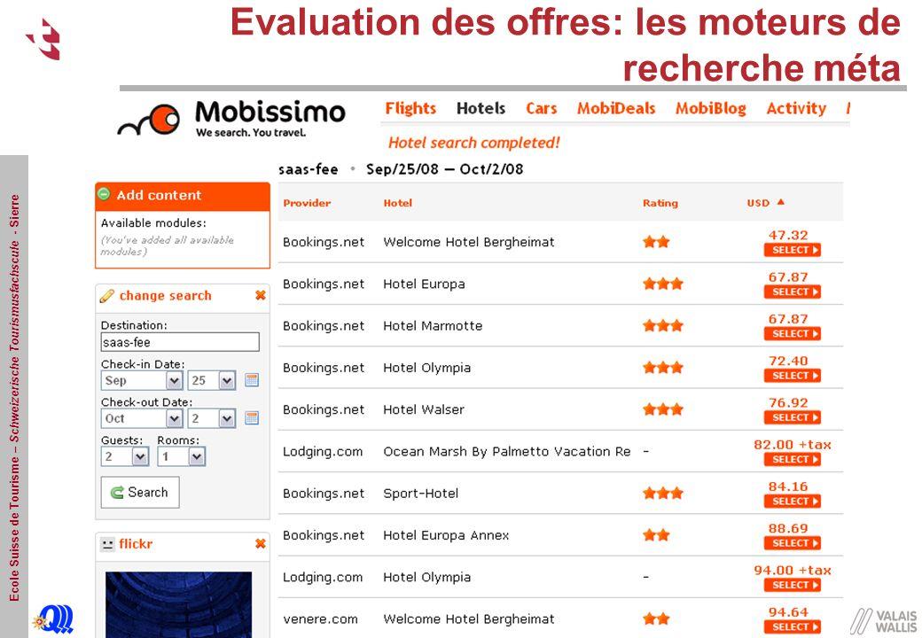 Evaluation des offres: les moteurs de recherche méta