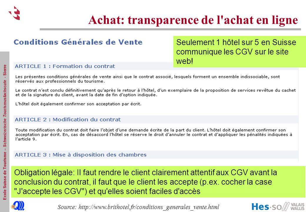 Achat: transparence de l achat en ligne