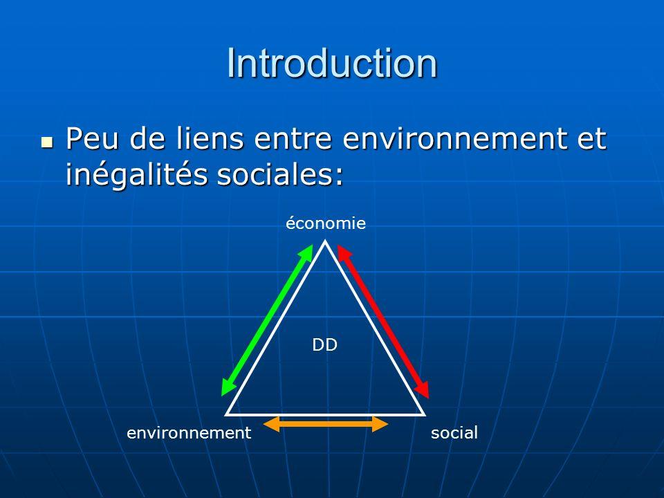 Introduction Peu de liens entre environnement et inégalités sociales: