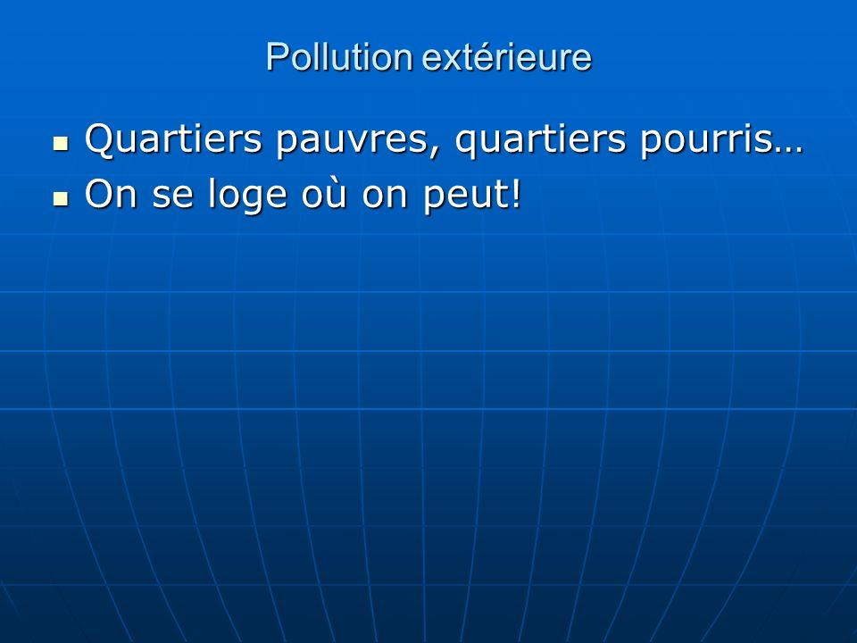 Pollution extérieure Quartiers pauvres, quartiers pourris… On se loge où on peut!