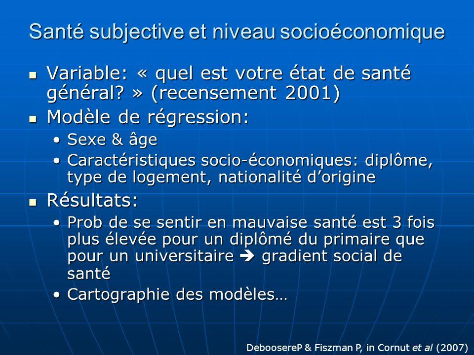 Santé subjective et niveau socioéconomique