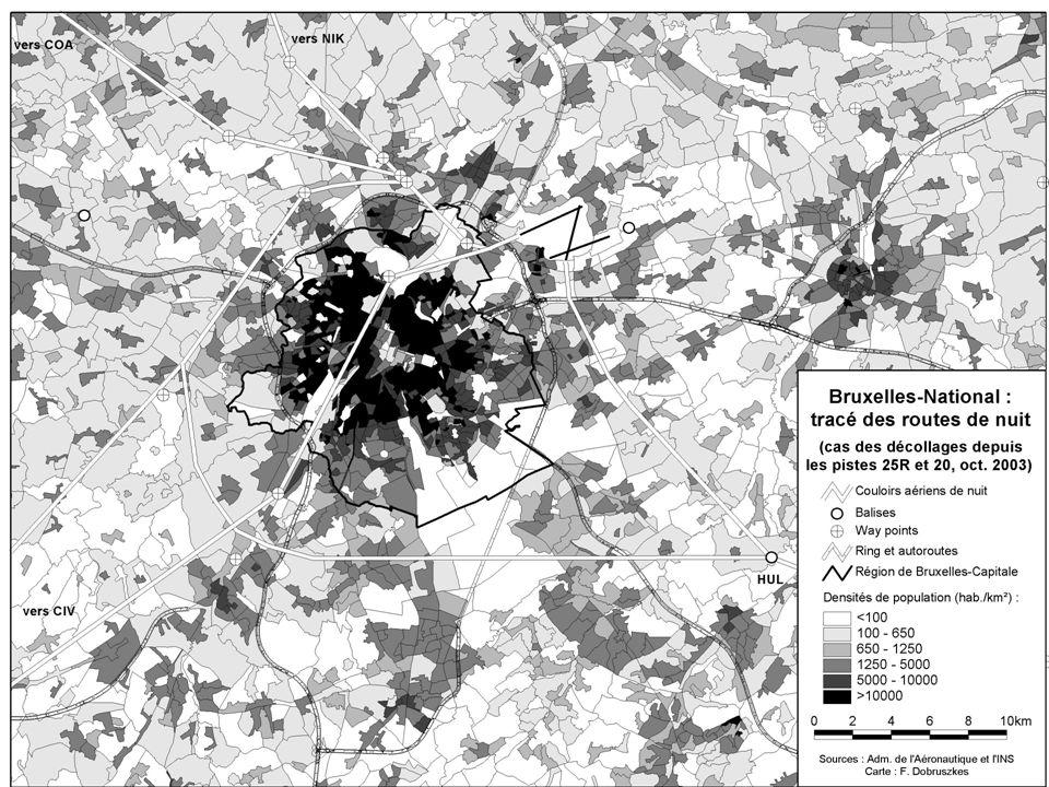 Carte routes de nuit sur densité pop