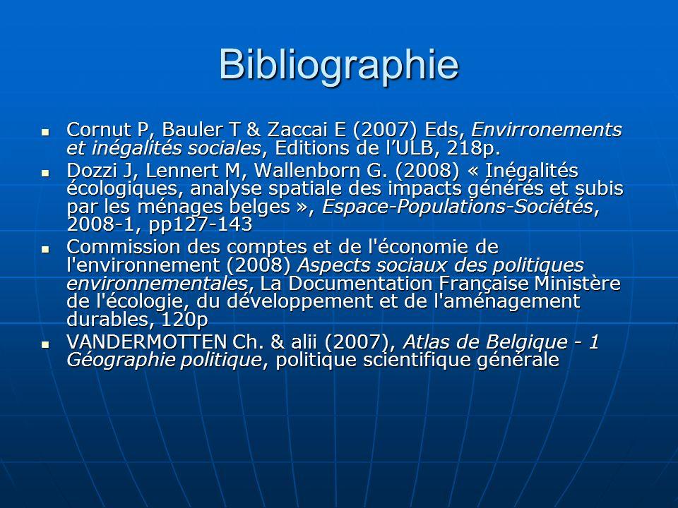 Bibliographie Cornut P, Bauler T & Zaccai E (2007) Eds, Envirronements et inégalités sociales, Editions de l'ULB, 218p.