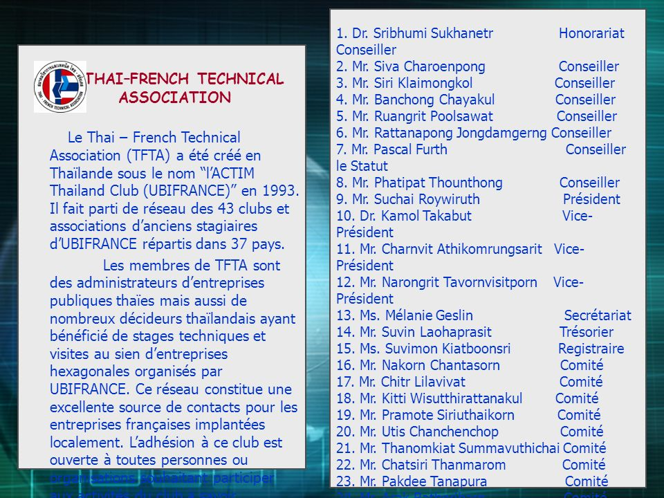 THAI–FRENCH TECHNICAL ASSOCIATION