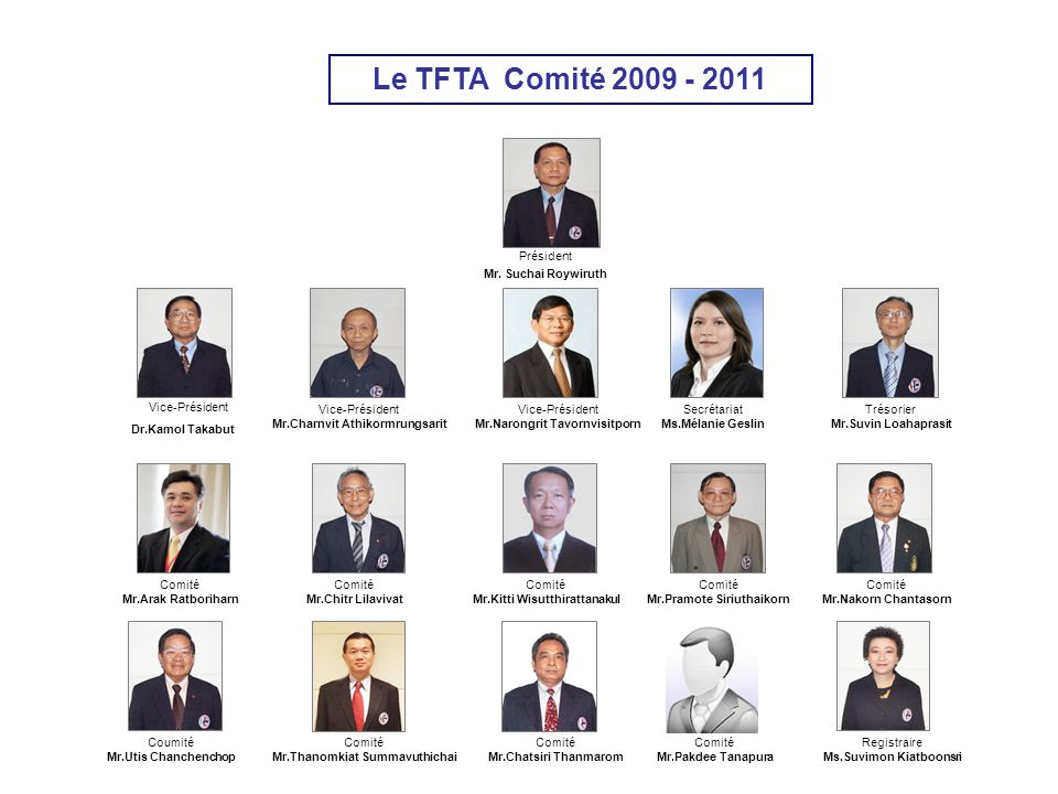 Vice-Président Le TFTA Comité 2009 - 2011 Président