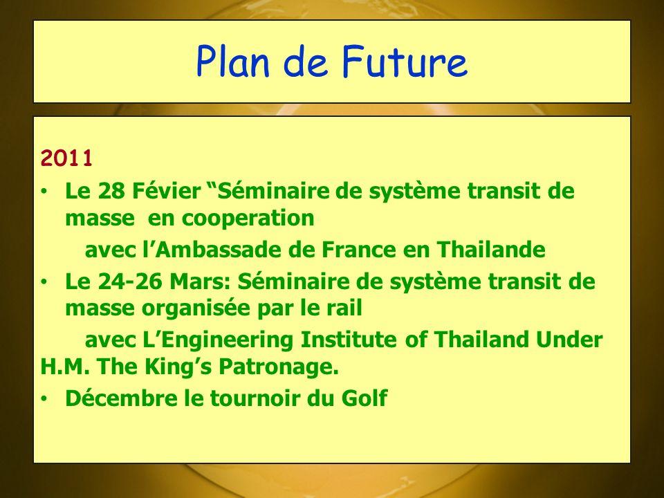 Plan de Future 2011. Le 28 Févier Séminaire de système transit de masse en cooperation. avec l'Ambassade de France en Thailande.