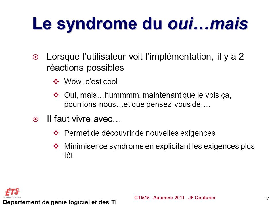 Le syndrome du oui…mais