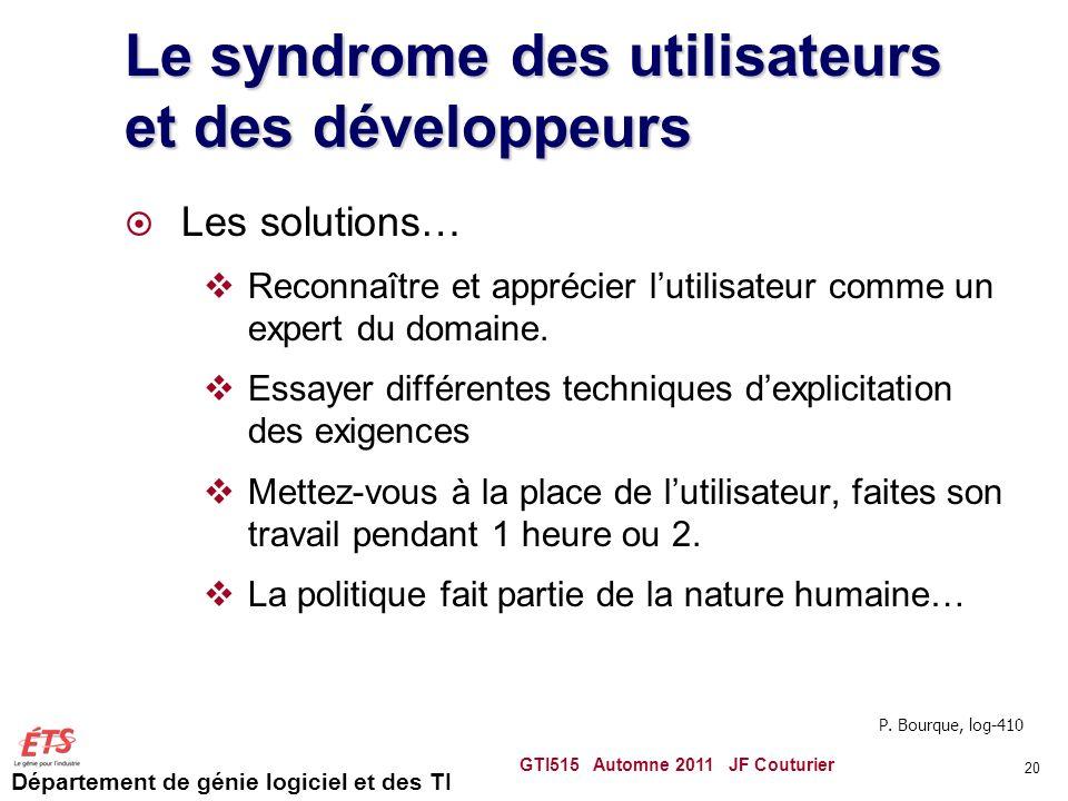 Le syndrome des utilisateurs et des développeurs