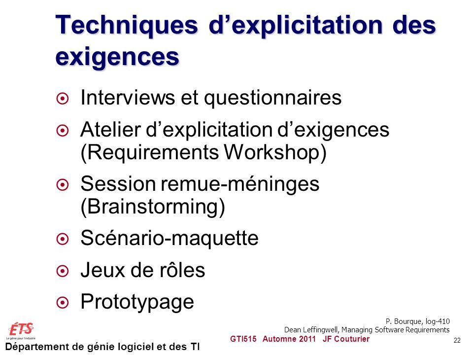 Techniques d'explicitation des exigences