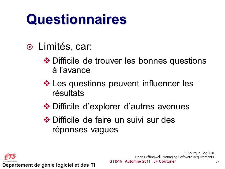 Questionnaires Limités, car: