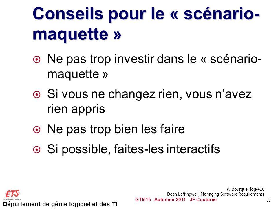 Conseils pour le « scénario-maquette »