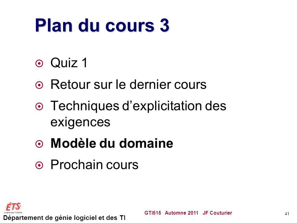 Plan du cours 3 Quiz 1 Retour sur le dernier cours