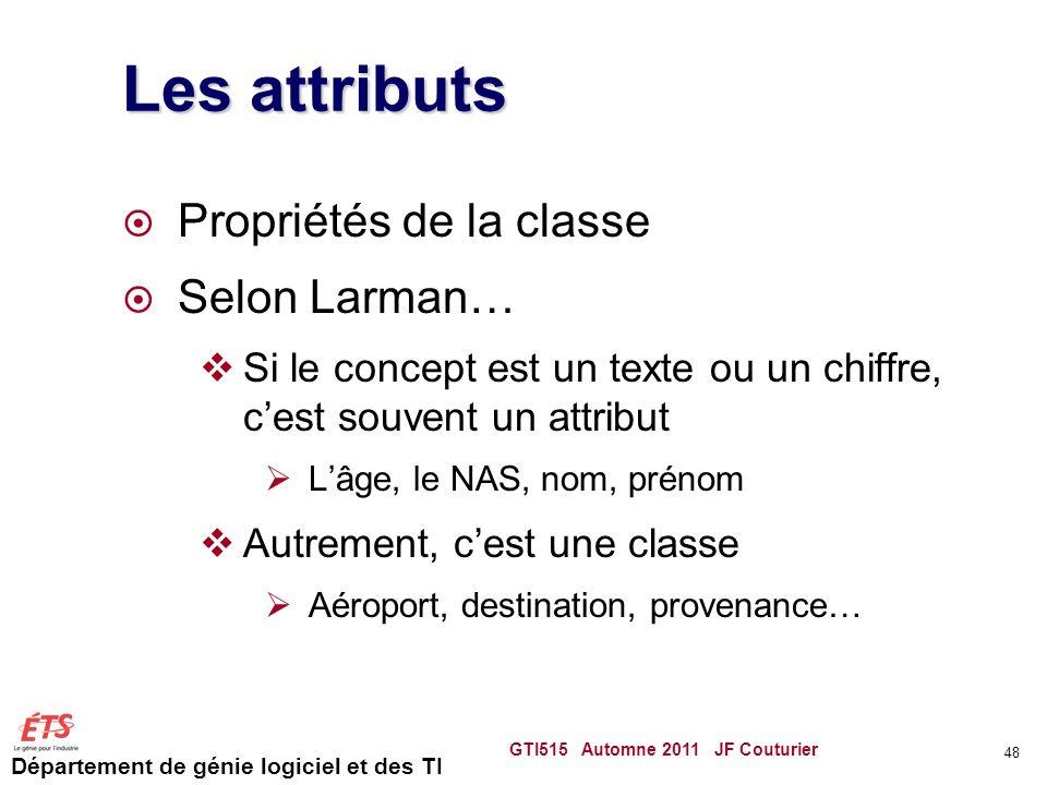 Les attributs Propriétés de la classe Selon Larman…